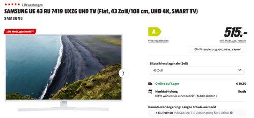 SAMSUNG UE43RU7419 43 Zoll UHD-TV, weiß - jetzt 13% billiger