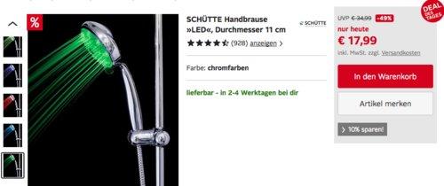 """SCHÜTTE 11 cm Handbrause """"LED"""" mit 7 Farben - jetzt 26% billiger"""