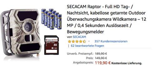 SECACAM Raptor - Full HD Überwachungskamera/Wildkamera, 0,4 Sekunden Auslösezeit - jetzt 20% billiger