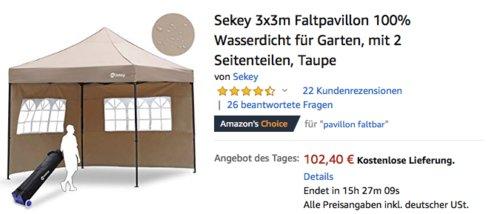Sekey 3x3m Faltpavillon mit 2 Seitenteilen, 100% Wasserdicht, Taupe oder Grau - jetzt 21% billiger
