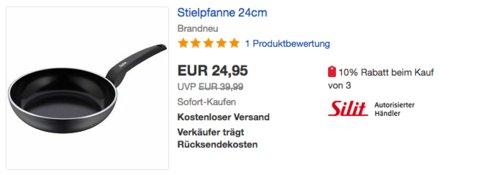 Silit Messino Alu-Bratpfanne mit keramischer CeraProtect Antihaftbeschichtung, Ø 24 cm - jetzt 22% billiger