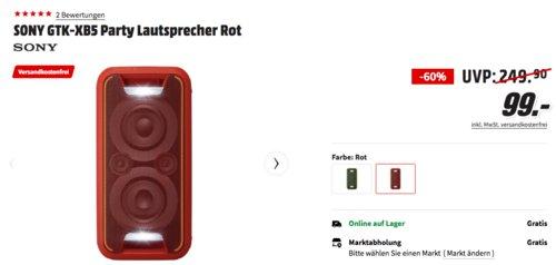 SONY GTK-XB5 200 Watt Bluetooth Party-Soundsystem, rot oder grün - jetzt 26% billiger