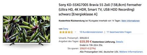 Sony KD-55XG7005 Bravia 55 Zoll (138,8cm) 4K Fernseher, schwarz - jetzt 14% billiger
