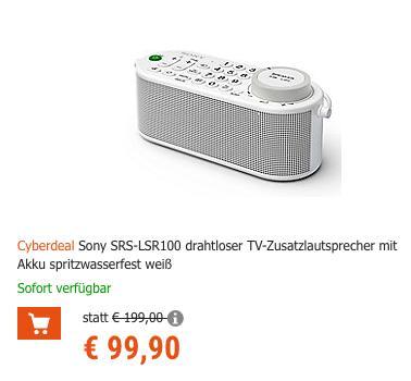 Sony SRS-LSR100 drahtloser TV-Zusatzlautsprecher, Akku-Zusatzlautsprecher mit Universalfernbedienung - jetzt 27% billiger