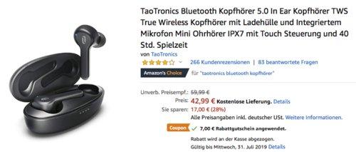 TaoTronics TT-BH053 DE Bluetooth In-Ear-Kopfhörer mit Ladehülle, bis zu 40 Std. Spielzeit - jetzt 16% billiger