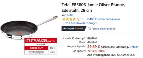 Tefal E85606 Jamie Oliver Edelstahl-Pfanne mit Thermo-Spot, 28 cm - jetzt 31% billiger