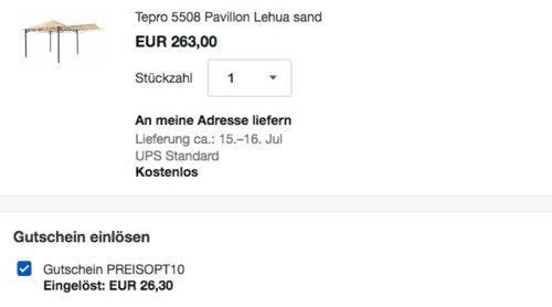 "Tepro 5508 Pavillon ""Lehua"" Sand inkl. Seitenteil, 330x330x285 cm - jetzt 10% billiger"