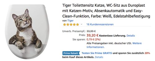 """Tiger Toilettensitz """"Katze"""" mit Absenkautomatik und Easy-Clean-Funktion, weiß - jetzt 20% billiger"""