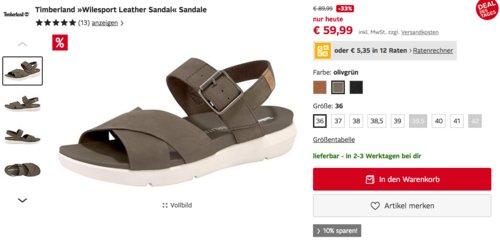 """Timberland """"Wilesport Leather Sandal"""" Damen Sandale, versch. Farben und Größen - jetzt 13% billiger"""