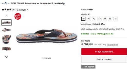 TOM TAILOR Herren Zehentrenner im sommerlichen Design, demin (40-46) - jetzt 20% billiger