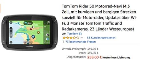 TomTom Rider 50 Motorrad-Navi, 23 Länder Westeuropas - jetzt 24% billiger