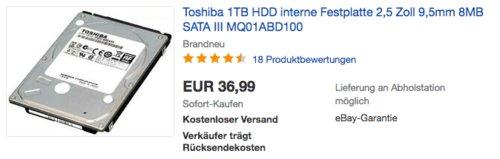 Toshiba MQ01ABD100 1000GB interne Festplatte (2,5 Zoll, 5400rpm, 8MB Cache, SATA) - jetzt 12% billiger