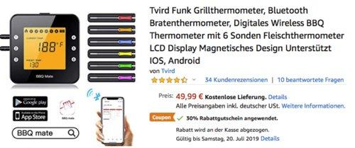 Tvird  Bluetooth Grillthermometer/Bratenthermometer mit 6 Sonden - jetzt 30% billiger