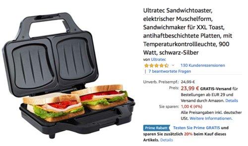 Ultratec Sandwichtoaster für XXL Toast, 900 Watt - jetzt 20% billiger