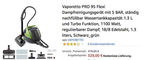 Vaporetto PRO 95 Flexi Dampfreinigungsgerät, 5 Bar - jetzt 13% billiger