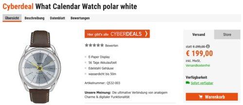 What? Calendar Smartwatch, polar white - jetzt 10% billiger
