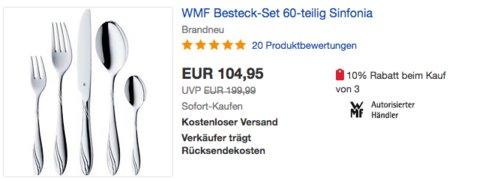 """WMF Besteck-Set """"Sinfonia"""", 60-teilig für 12 Personen - jetzt 28% billiger"""