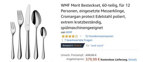 WMF Merit 60-teilige Besteckset für 12 Personen, extrem kratzresistent - jetzt 16% billiger