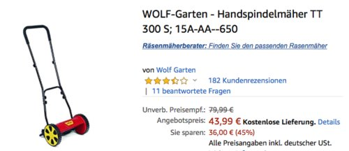WOLF-Garten TT 300 S Handspindelmäher, 30 cm Schnittbreite - jetzt 18% billiger