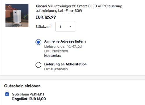 Xiaomi Mi 2S Luftreiniger mit dreifachem Filtersystem, bis zu 37 m² - jetzt 15% billiger