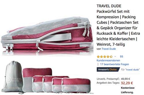 7-teiligeTRAVEL DUDE Packwürfel Set mit Kompression, Organizer für Rucksack & Koffer - jetzt 35% billiger