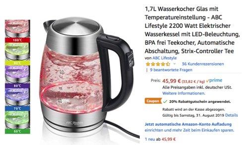 ABC Lifestyle 1,7L Glas-Wasserkocher mit Temperatureinstellung und LED-Beleuchtung (F682D) - jetzt 20% billiger