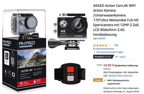 AKASO EK7000 4K Action Cam (170 ° Weitwinkelobjektiv, Fernbedienung) - jetzt 40% billiger