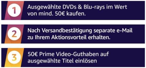 Amazon: Für 50€ DVDs & Blu-rays kaufen und 50€ Prime Video-Guthaben erhalten - jetzt 50% billiger