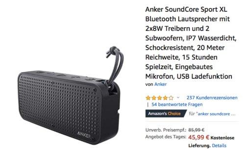 Anker SoundCore Sport XL Bluetooth Lautsprecher, 2x8W Treiber - jetzt 19% billiger