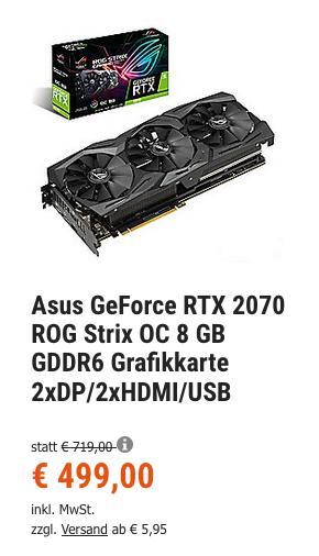 Asus GeForce RTX 2070 ROG Strix OC 8 GB Gaming Grafikkarte (GDDR6, 1.410 MHz, 2xDP/2xHDMI/USB) - jetzt 4% billiger