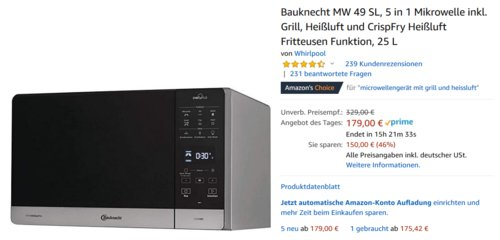 Bauknecht MW 49 SL Mikrowelle inkl. Grill, Heißluft und CrispFry Heißluft Fritteusen Funktion, 25 L - jetzt 17% billiger