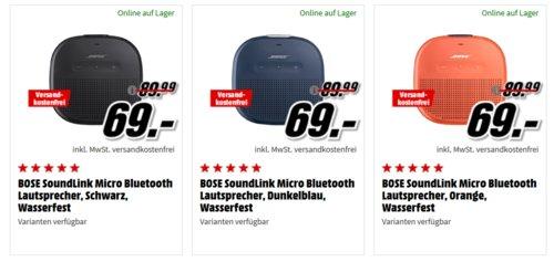 BOSE SoundLink Micro Bluetooth Lautsprecher, versch. Farben - jetzt 23% billiger