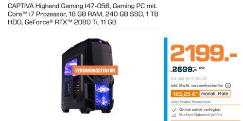 CAPTIVA I47-056 Highend Gaming-PC (i7, 6 GB RAM, 240 GB SSD, 1 TB HDD, GeForce® RTX™ 2080 Ti 11 GB) - jetzt 12% billiger