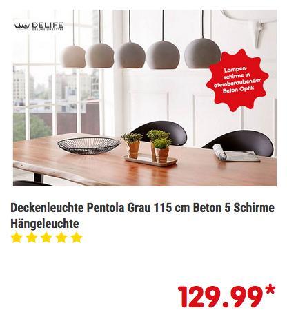 Deckenleuchte Pentola mit 5 Hängeleuchten Beton Optik, 115 cm - jetzt 13% billiger