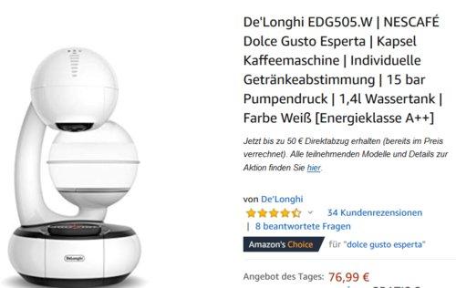 De'Longhi EDG505 NESCAFÉ Dolce Gusto Esperta Kapselkaffeemaschine, weiß - jetzt 22% billiger