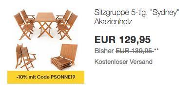 """Deuba Sitzgruppe """"Sydney"""" aus Akazienholz, 4 Stühle + 1 Tisch - jetzt 27% billiger"""