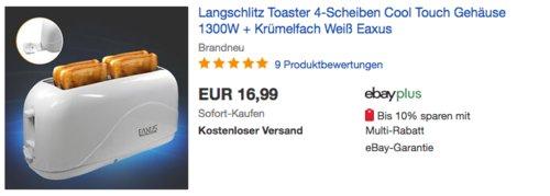 Eaxus Langschlitz Toaster 4-Scheiben, 1300W - jetzt 25% billiger