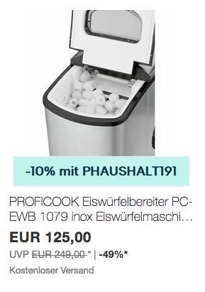 Ebay - 10% Rabatt auf ausgewählte Haushaltsgeräte: z.B. PROFICOOK Eiswürfelbereiter PC-EWB 1079 - jetzt 10% billiger