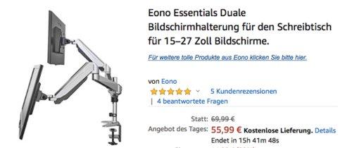 Eono Essentials GM324D-1 Duale Bildschirmhalterung für den Schreibtisch (15-27 Zoll) - jetzt 20% billiger
