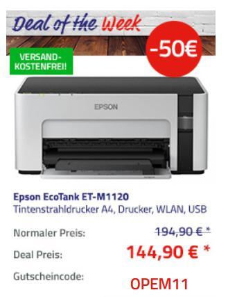Epson EcoTank ET-M1120 nachfüllbarer S/W-Tintenstrahldrucker, A4 - jetzt 26% billiger