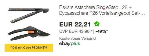 Fiskars Astschere SingleStep L28 inkl. Bypassschere P26 - jetzt 29% billiger