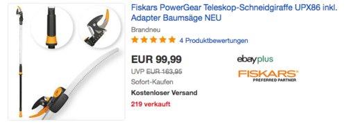 Fiskars PowerGear Teleskop-Schneidgiraffe UPX86 inkl. Adapter-Baumsäge - jetzt 20% billiger