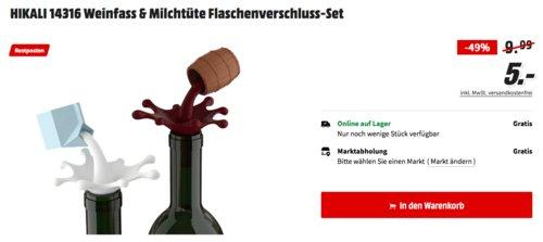 HIKALI 14316 Weinfass & Milchtüte Flaschenverschluss-Set - jetzt 50% billiger