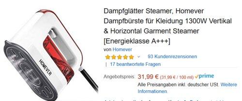 Homever FRAGS003 Dampfbürste für Kleidung / Vertikal & Horizontal Garment Steamer, 1300W - jetzt 34% billiger