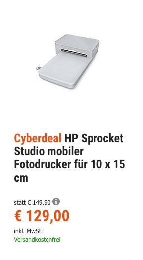 HP Sprocket Studio mobiler Fotodrucker für 10 x 15 cm - jetzt 8% billiger