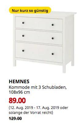 IKEA Bielefeld - HEMNES Kommode mit 3 Schubladen, weiß gebeizt, 108x96 cm - jetzt 31% billiger