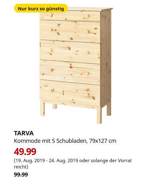 IKEA Bremerhaven - TARVA Kommode mit 5 Schubladen, Kiefer, 79x127 cm - jetzt 50% billiger