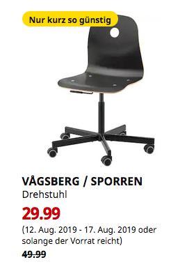 IKEA Bremerhaven - VAGSBERG / SPORREN Drehstuhl, schwarz - jetzt 40% billiger