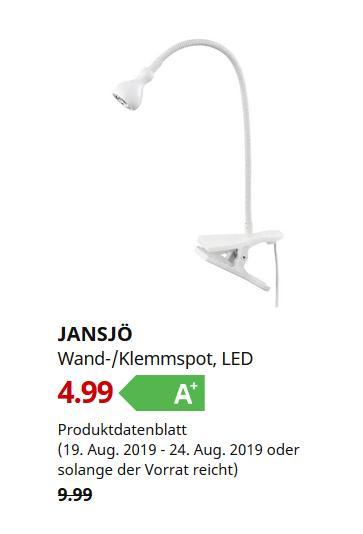IKEA Chemnitz - JANSJÖ Wand-/Klemmspot, LED, weiß - jetzt 50% billiger