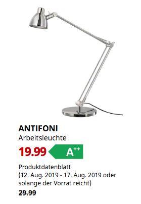 IKEA Düsseldorf - ANTIFONI Arbeitsleuchte, vernickelt,44 cm hoch - jetzt 33% billiger